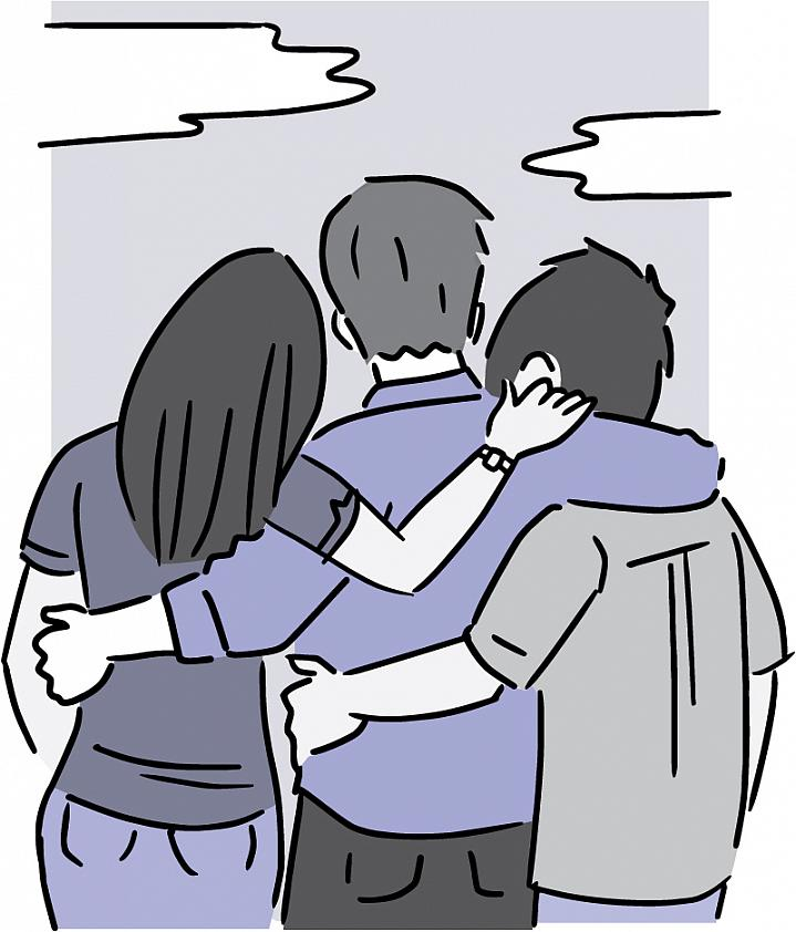 Illustration showing 3 people from behind, with their arms around each other.
