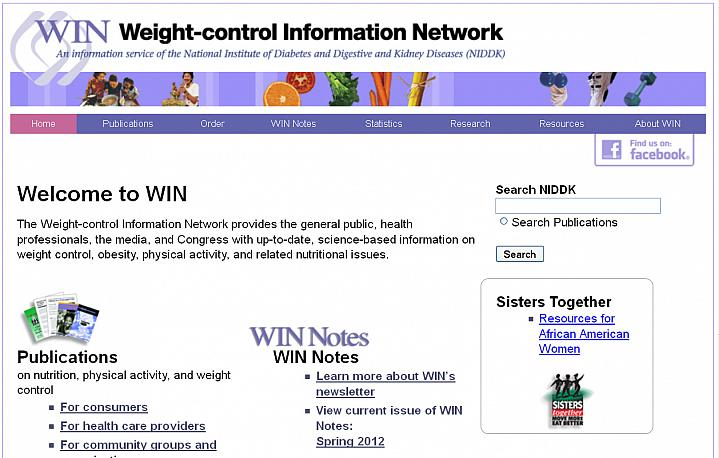 Screen capture of the homepage for the Weight-control Information Network.