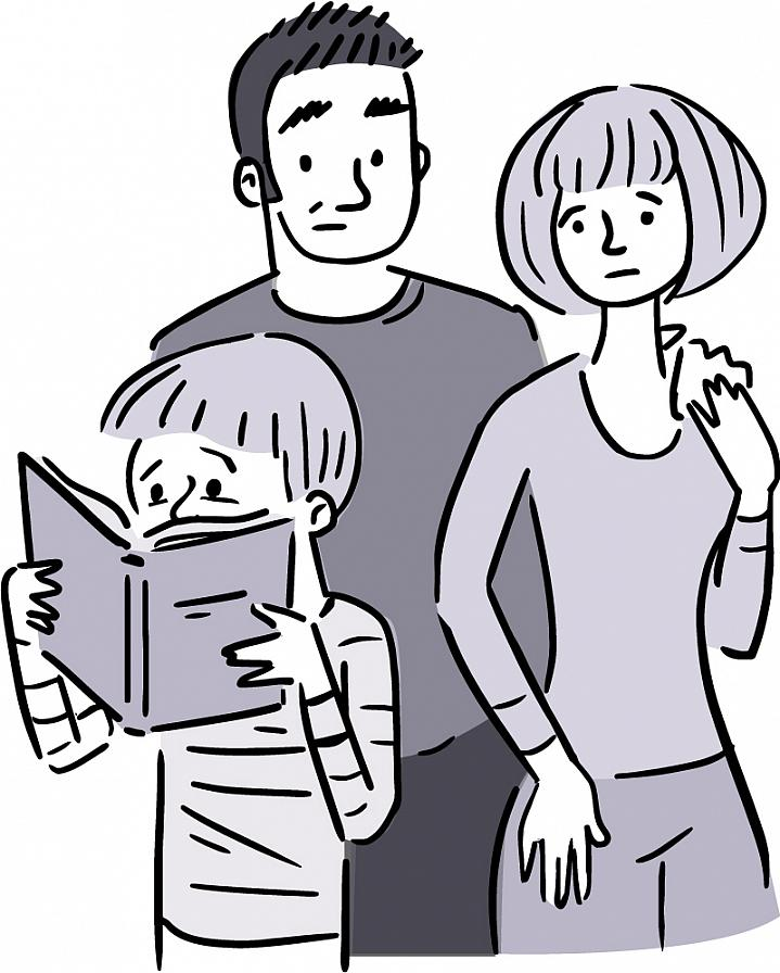 Illustration of worried parents watching a young child reading a book.