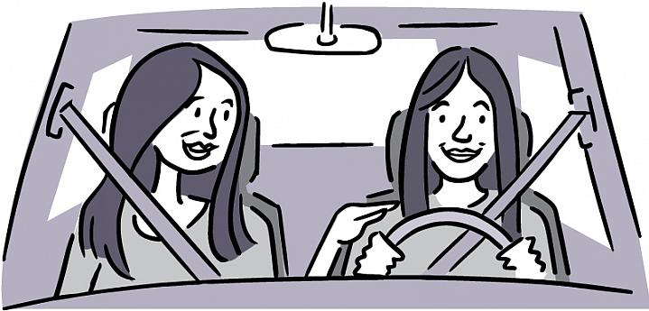 Illustration of a smiling teen driver with her mother in the passenger seat.