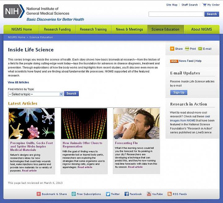 Screen capture of the homepage for Inside Life Science website.