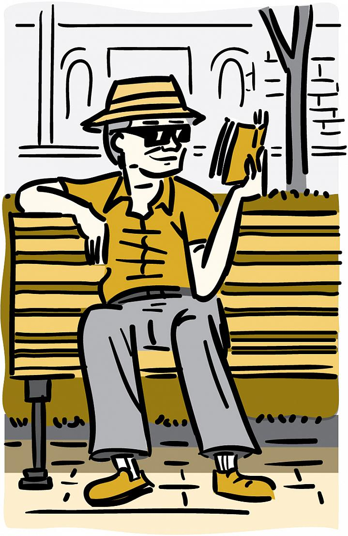 Illustration of an older man wearing a brimmed hat and sunglasses while reading a book outside.