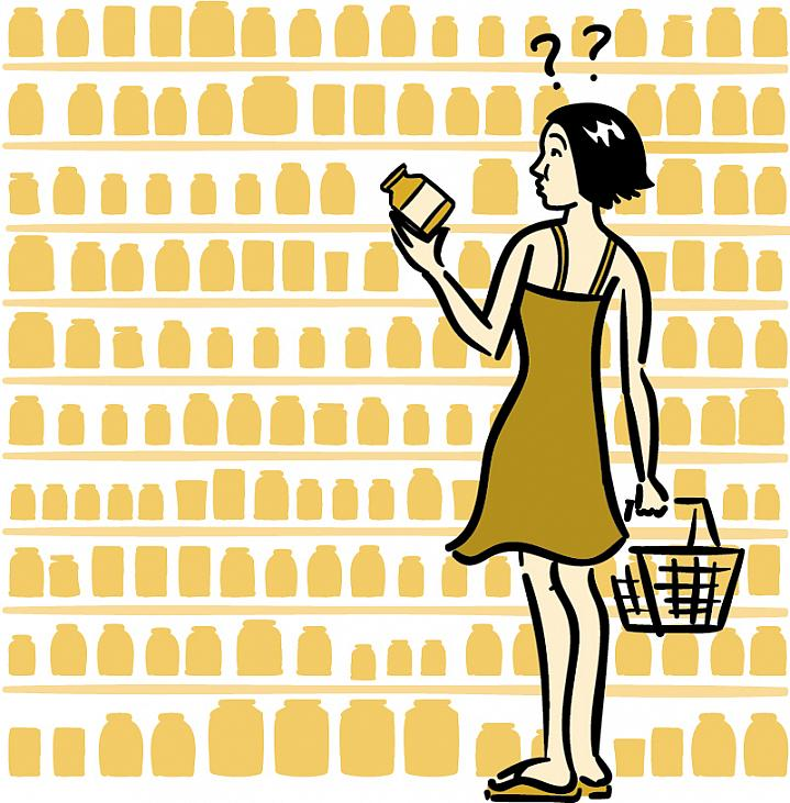 Illustration of a woman shopping for dietary supplements.