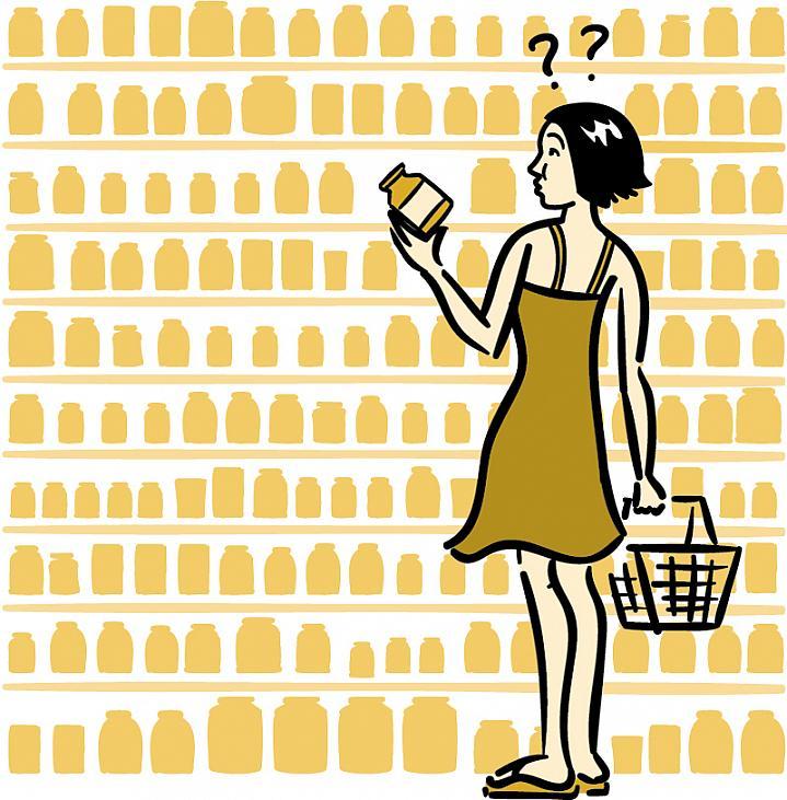 Ilustração de uma mulher que compra suplementos alimentares.