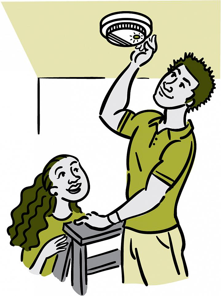 Illustration of a man on a ladder checking a ceiling smoke detector.