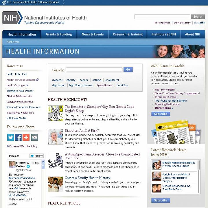 Screen capture of the homepage for the NIH Health Information website.