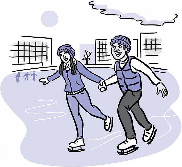 Illustration of a man and woman ice skating.