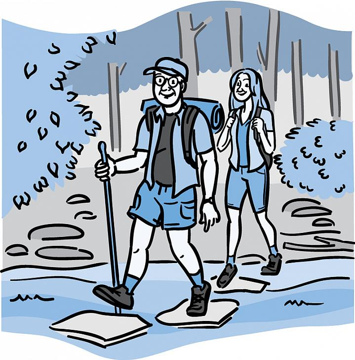 Illustration of an older couple hiking through the woods.