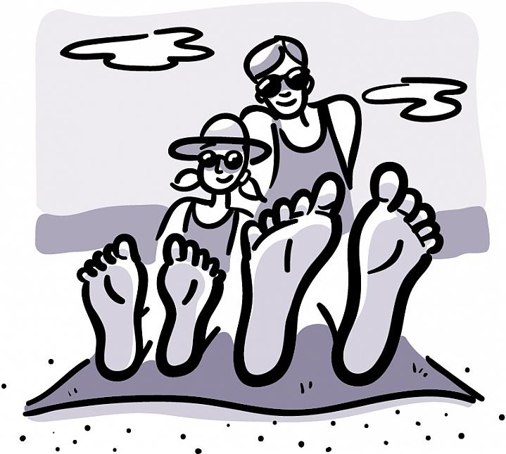 Illustration of a girl and dad sitting at the beach, with their bare feet in the foreground.