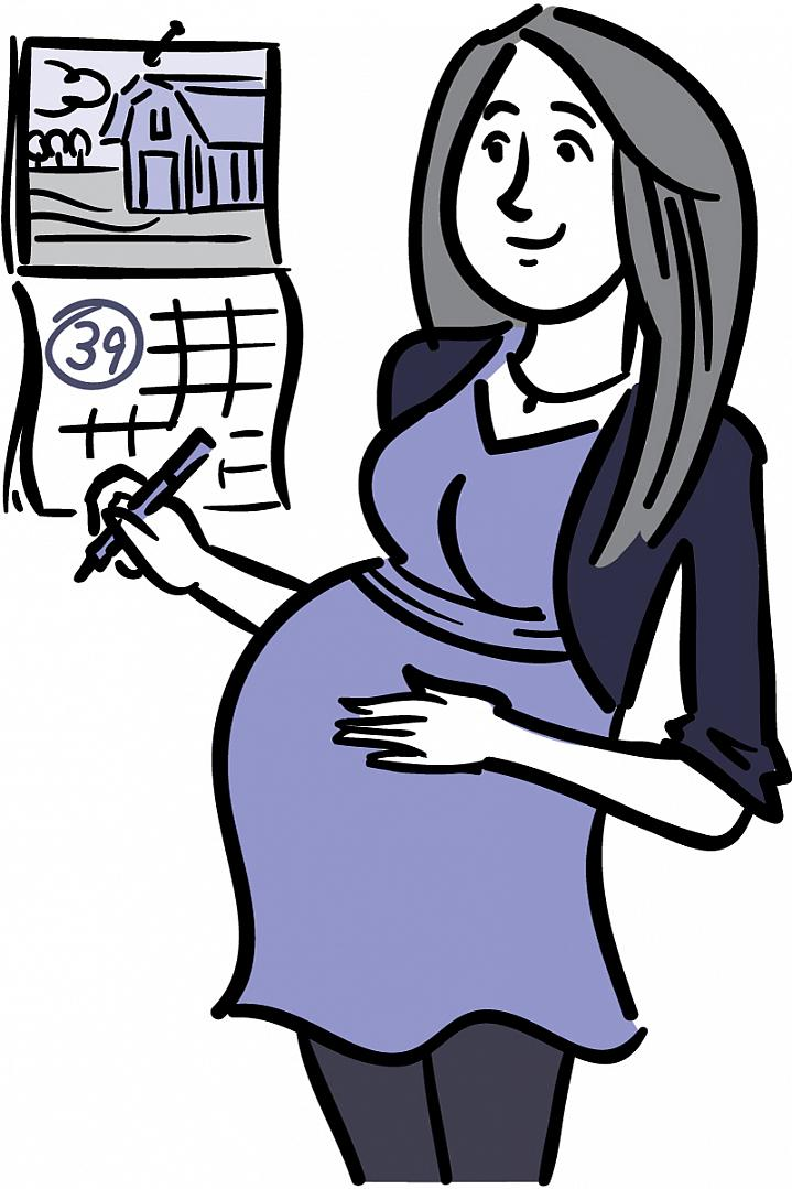 Illustration of pregnant woman marking a large 39 on her wall calendar.