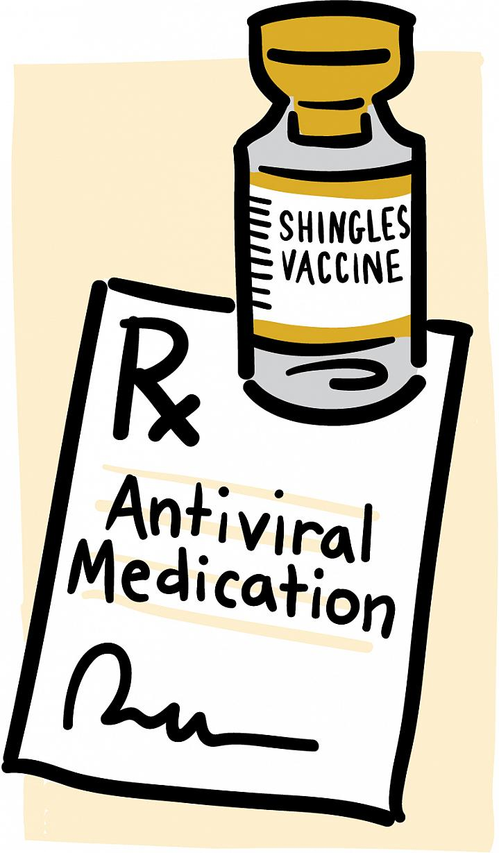 "Cartoon of a vial labeled ""Shingles Vaccine"" and a prescription for antiviral medication."