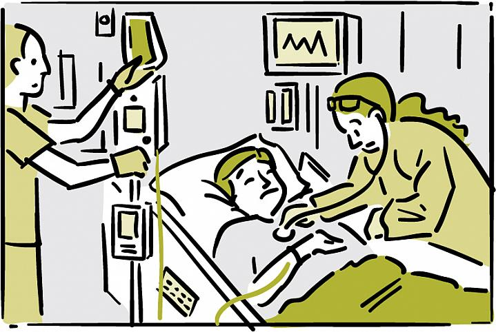 Illustration of a patient being treated in a hospital room.