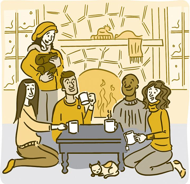 Illustration of friends relaxing by a fireplace.