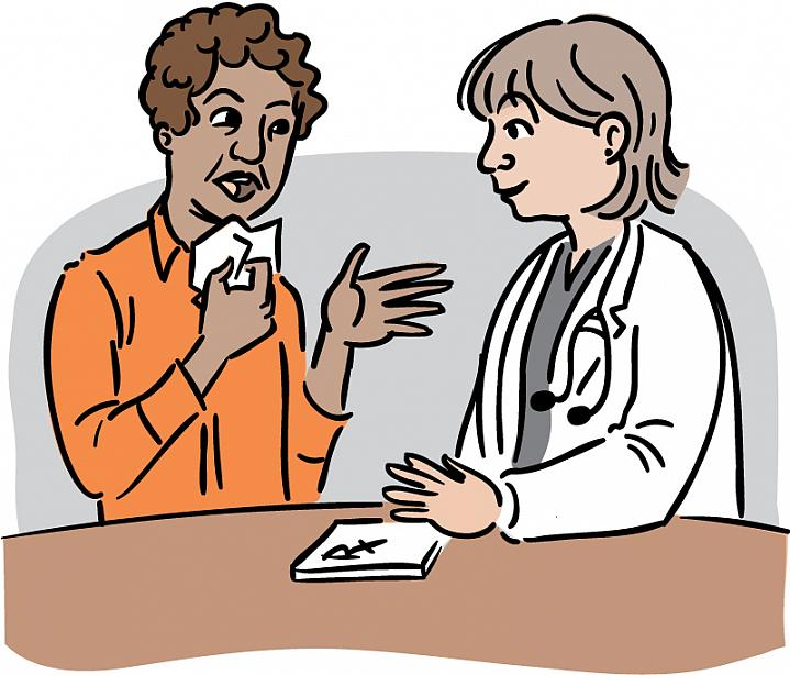 Illustration of a woman clutching a tissue near her face while talking with her doctor, who has a prescription pad handy.