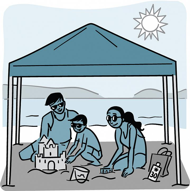 Illustration of a family under a shaded canopy at the beach.
