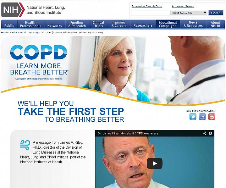 Screen capture of the homepage for the COPD: Learn More Breathe Better website.