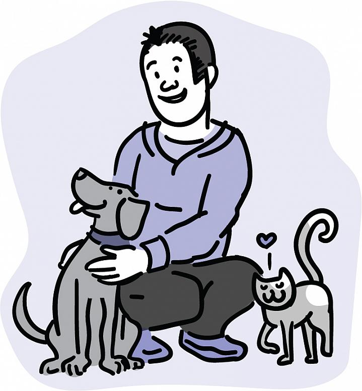 Illustration of a man affectionately petting a dog and cat.