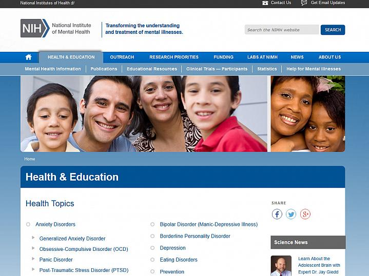 Screen capture of the homepage for the NIMH Mental Health Topics website.
