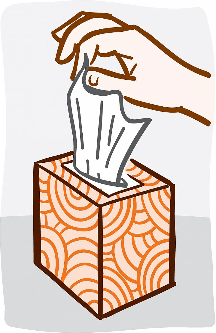 Illustration of a hand pulling a tissue from a box.