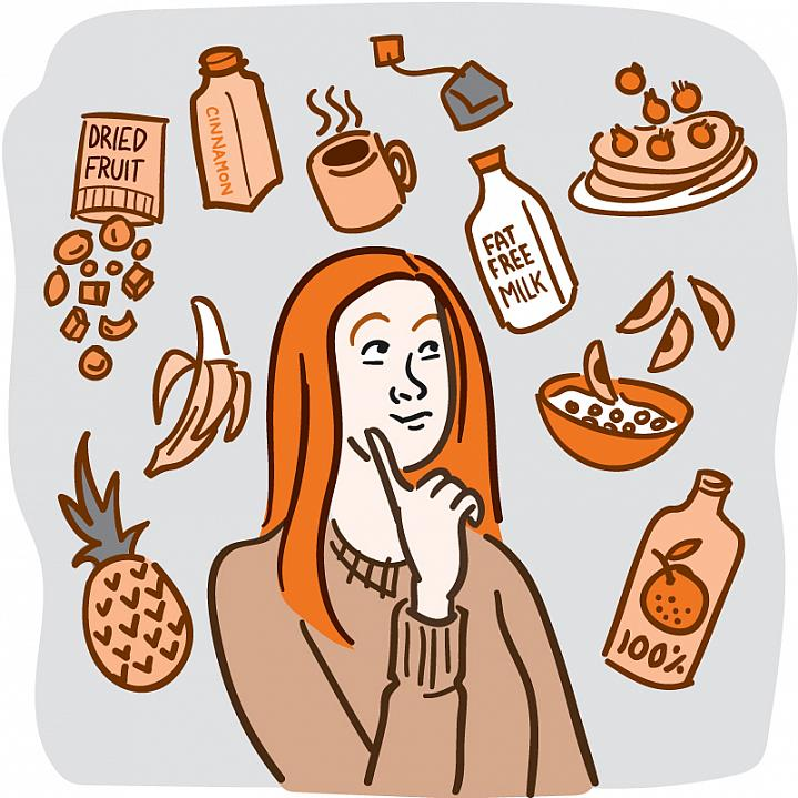 Illustration of a woman surrounded by healthy foods that don't contain added sugar.