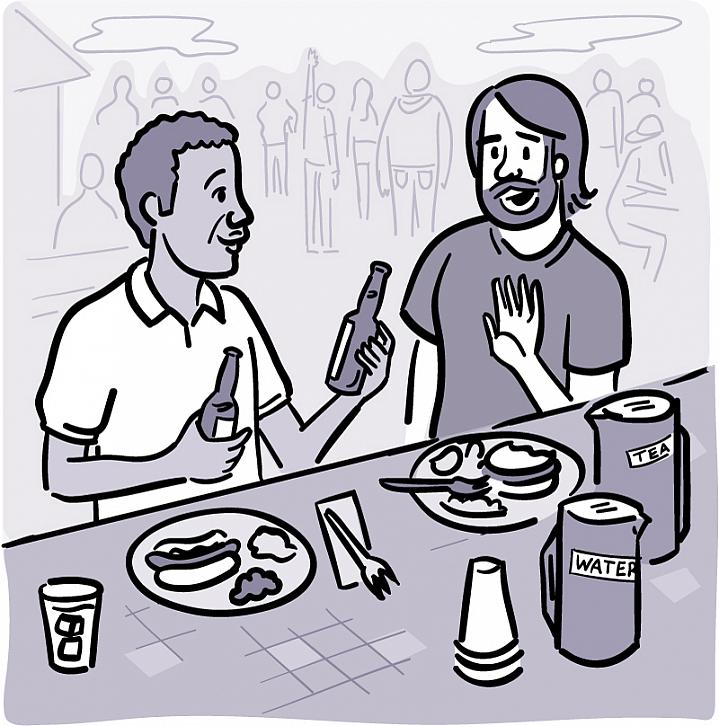 Illustration of a man declining a beer that's being offered by his friend at a picnic.