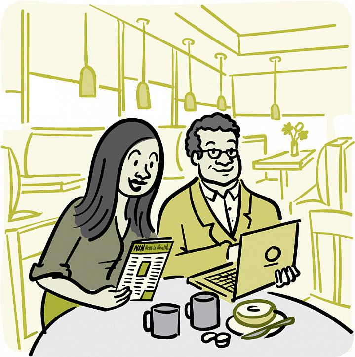 Illustration of a man and a woman reading the NIH News in Health newsletter.