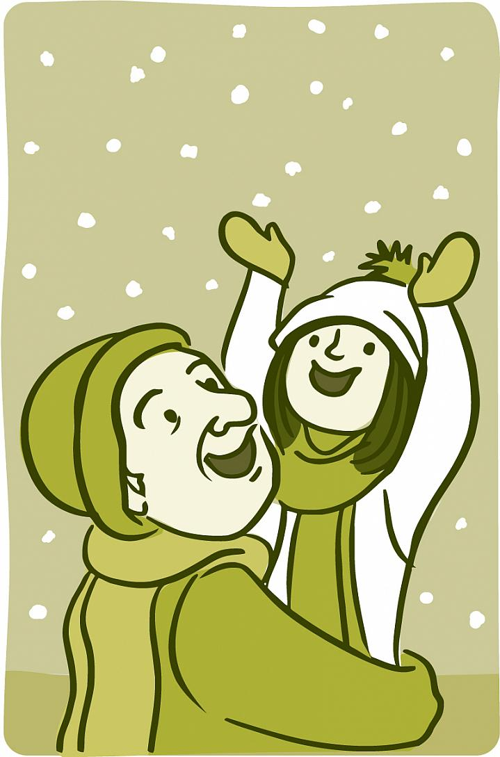 Illustration of a happy older person and child bundled up in wintry outerwear on a snowy day.