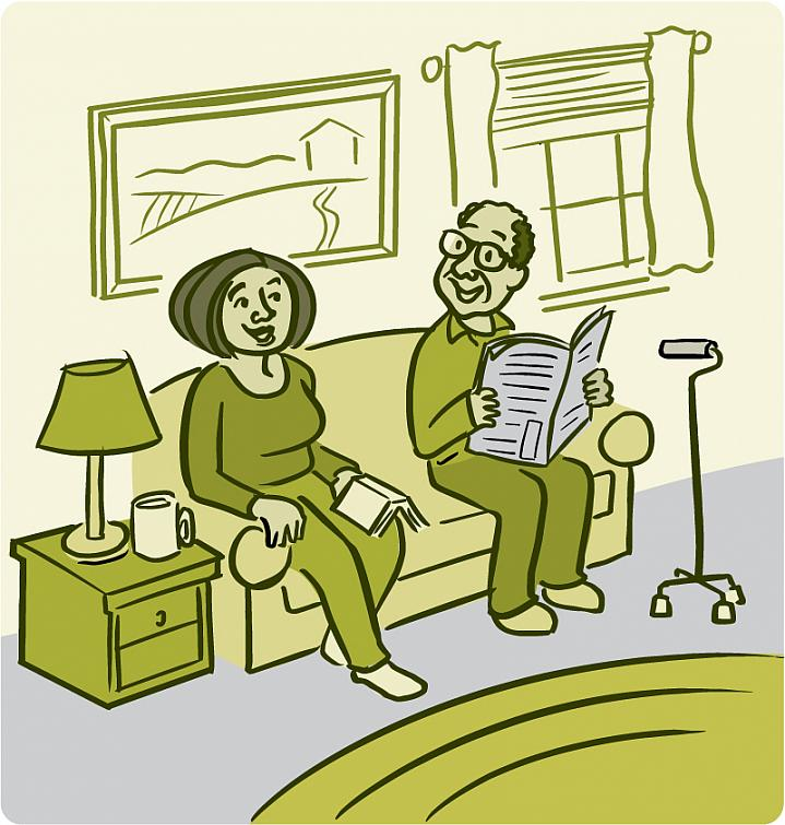 Illustration of a smiling older man and woman sitting on the couch with a walking cane nearby.