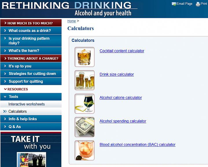 Screen capture of NIH's Alcohol Calculators webpage.