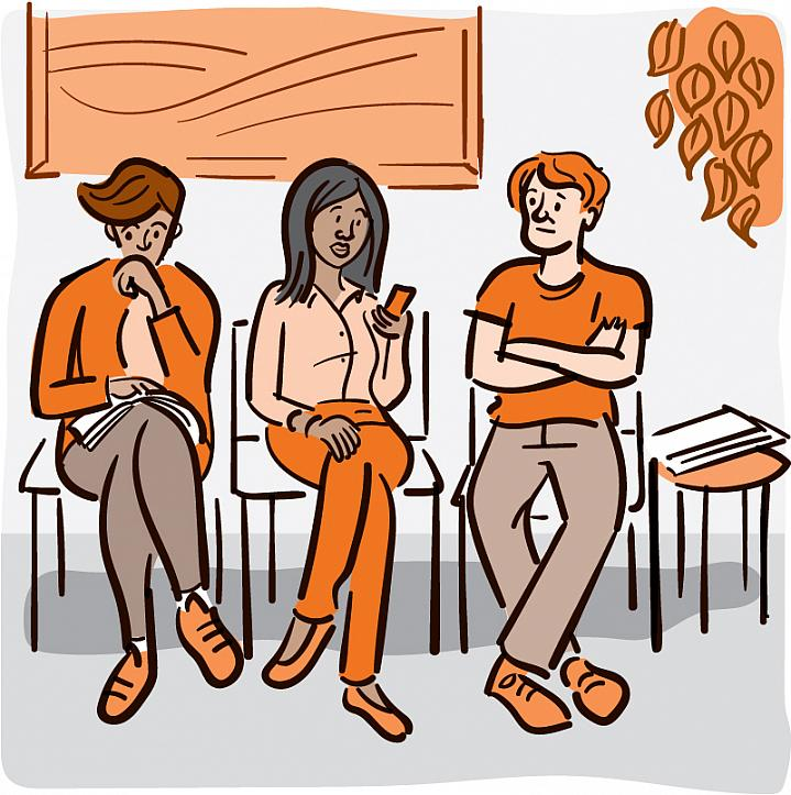 Illustration of a 3 people sitting in a doctor's waiting room.
