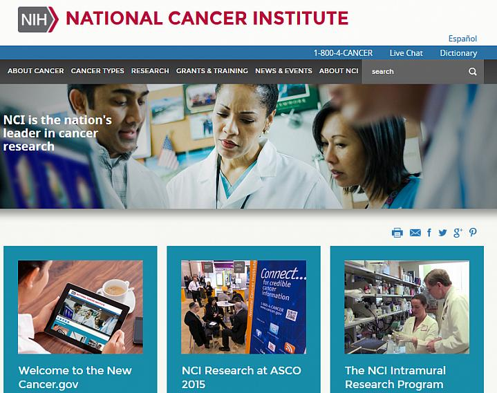 Screen capture of the homepage for NIH's National Cancer Institute.