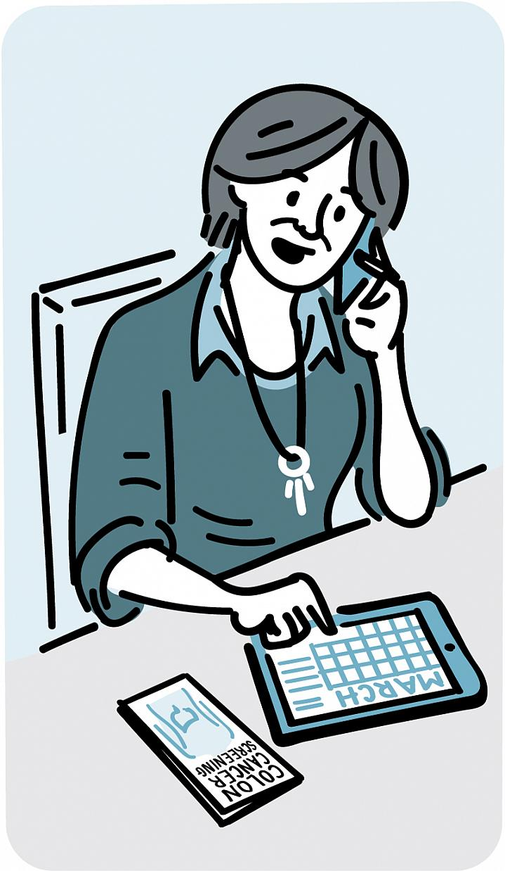 Illustration of a woman checking her calendar and talking on the phone.