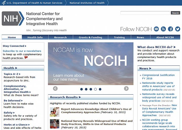 Screen capture of the homepage for the National Center for Complementary and Integrative Health website.