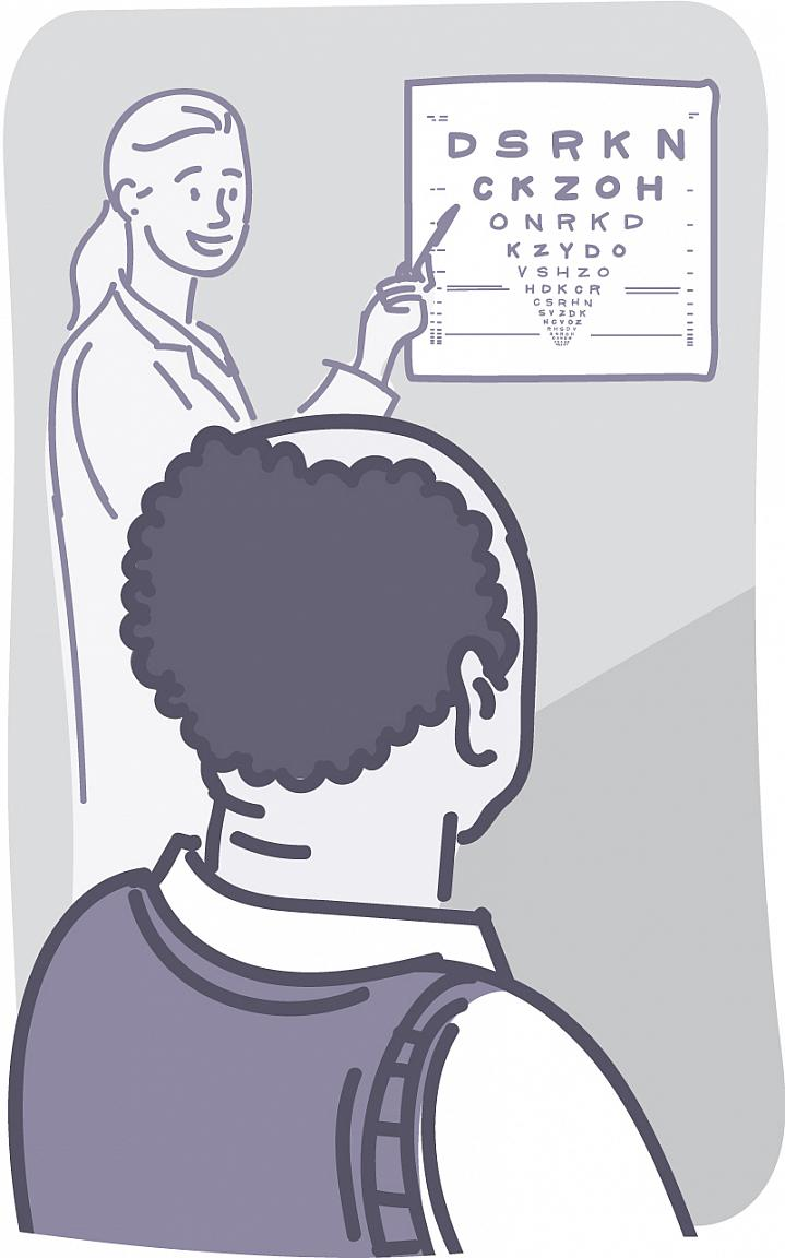 Illustration of a man looking at an eye chart.
