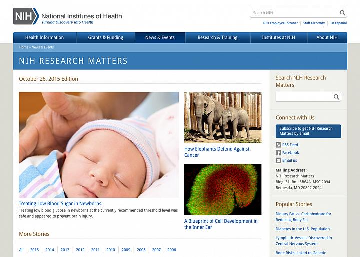 Screen capture of the homepage for NIH Research Matters.