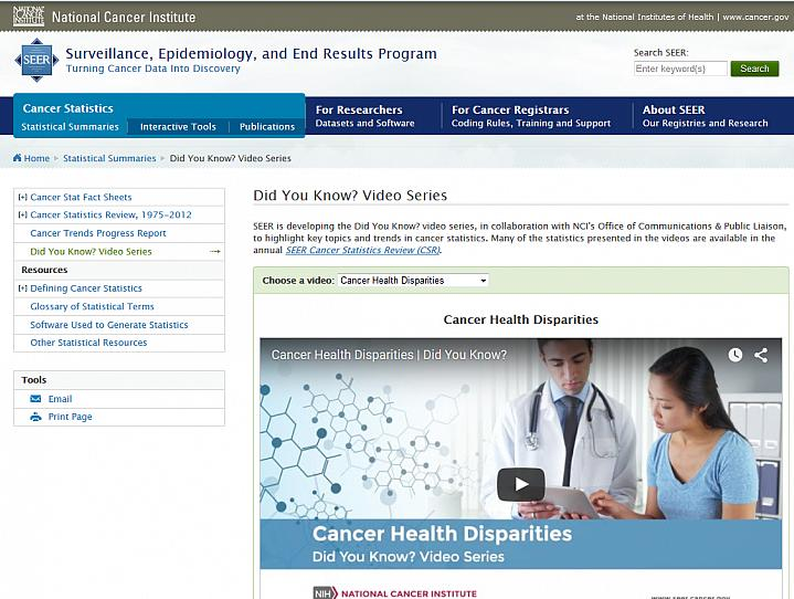 Screen capture of the homepage for Did You Know? Cancer Videos.