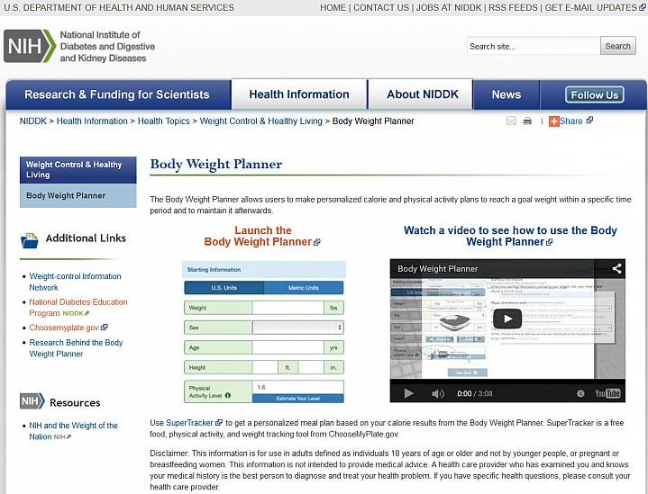 Body Weight Planner | NIH News in Health