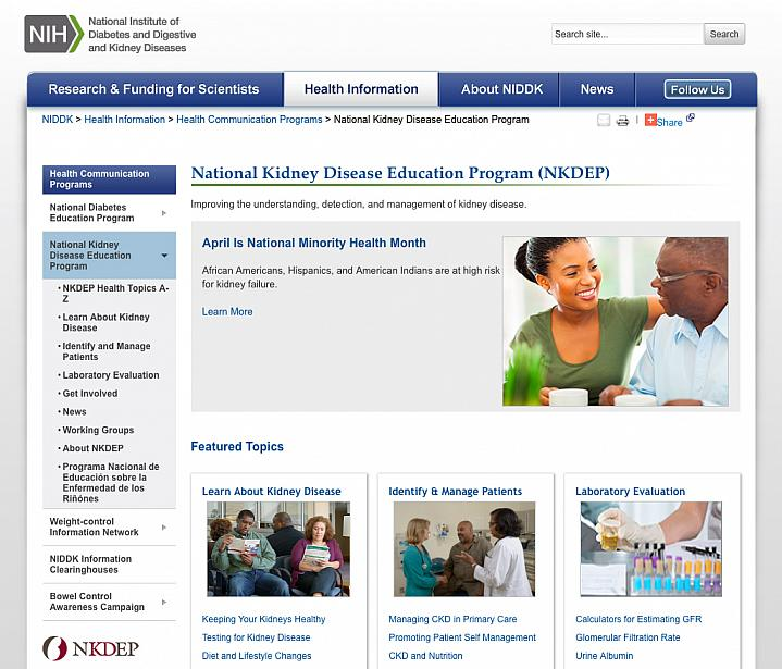 Screen capture of the homepage for NIH's National Kidney Disease Education Program.