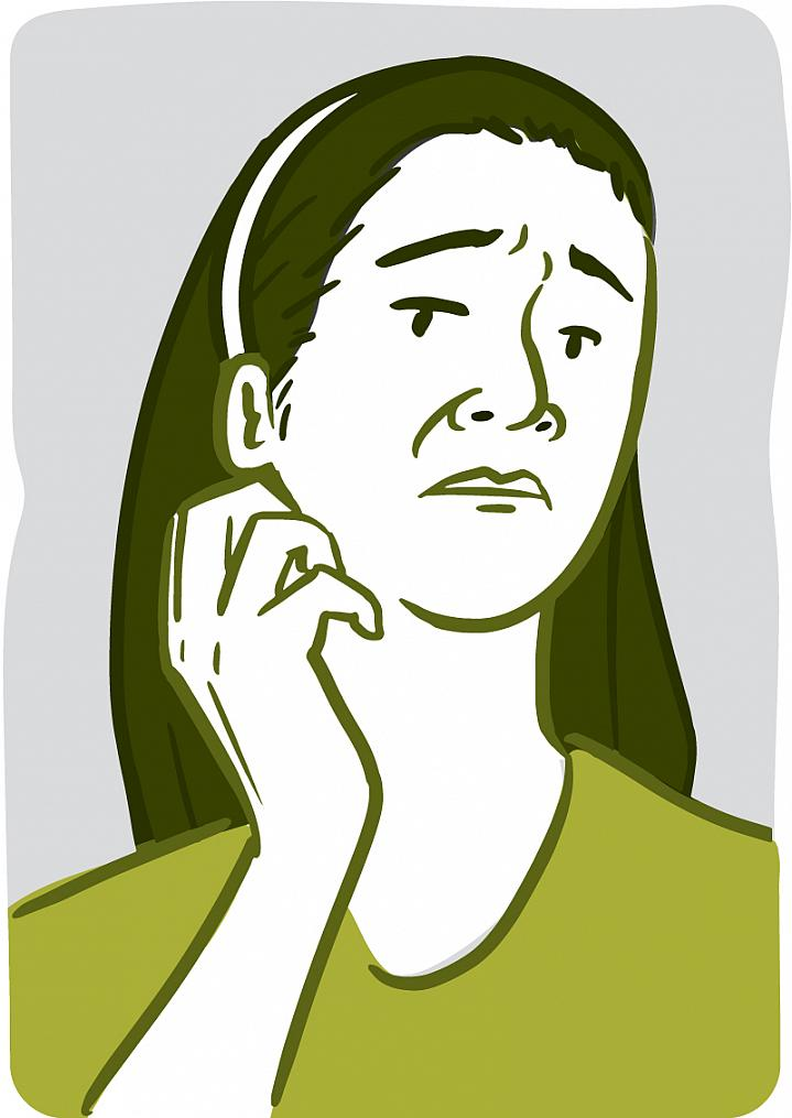 Illustration of a woman scratching her throat.