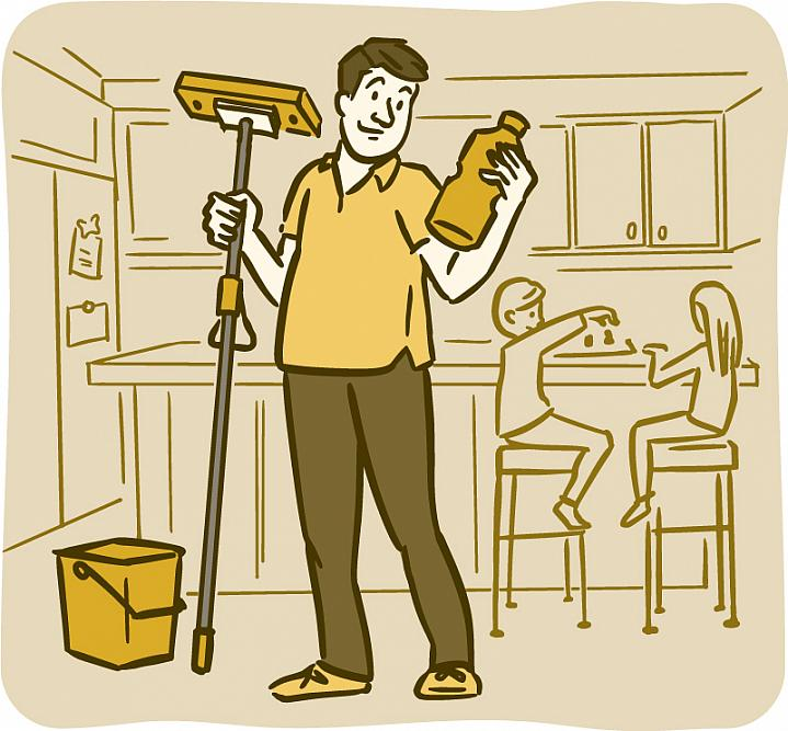 Illustration of a dad holding a mop and reading the label on a bottle of cleaning fluid in a kitchen.