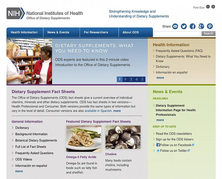 Screen capture of the homepage for NIH Office of Dietary Supplements.