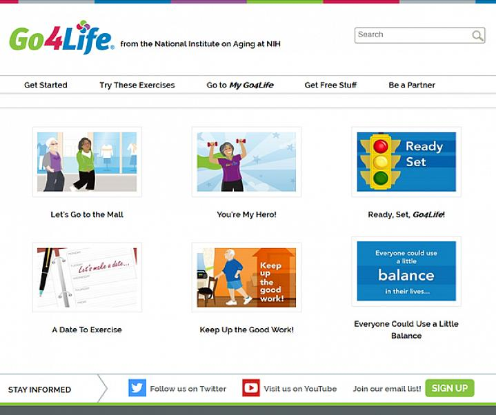 Screen capture of the homepage for NIH Health E-cards