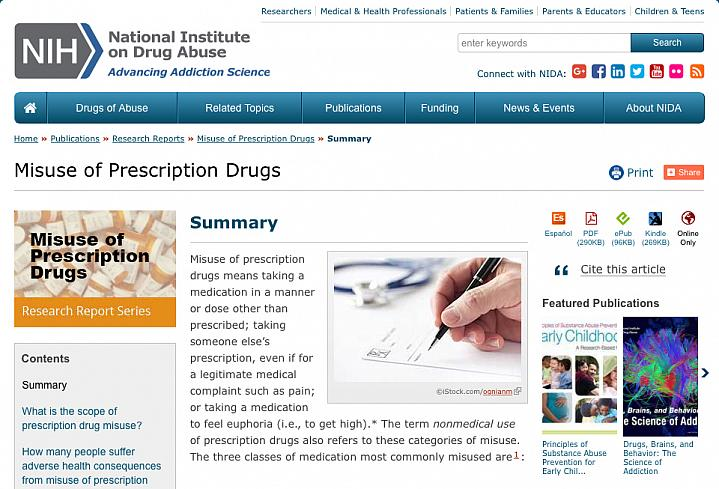 Screen capture of the homepage for NIDA's Prescription Drug Abuse information.