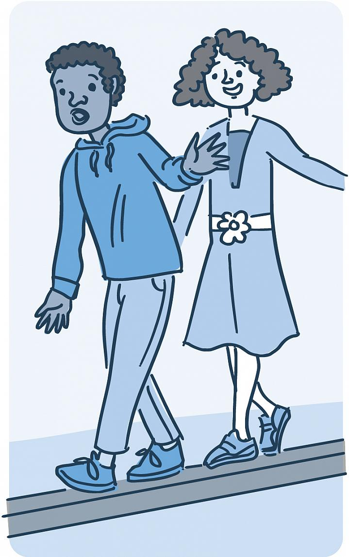 Illustration of 2 children walking on a balance beam.