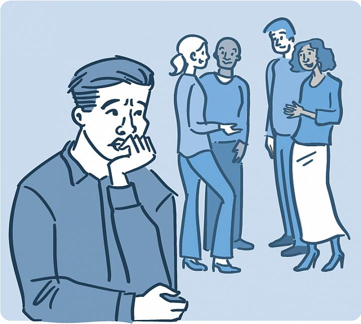Illustration of a worried man standing apart from a circle of friends.