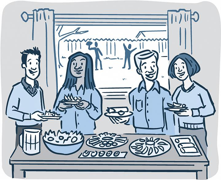 Illustration of adults at a holiday buffet table filled with healthy foods.