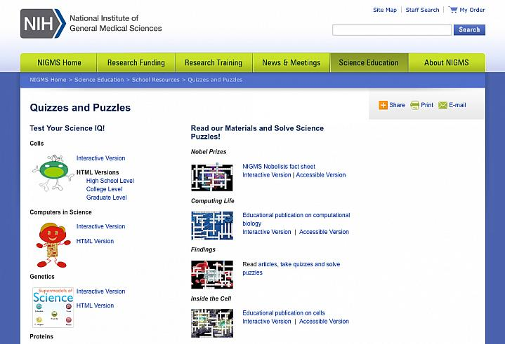 Screen capture of NIH's Science Quizzes & Puzzles Web page.