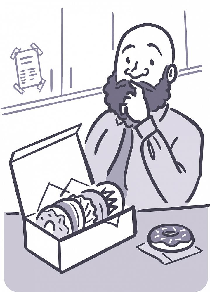 Illustration of a man looking pensively at a box of donuts.