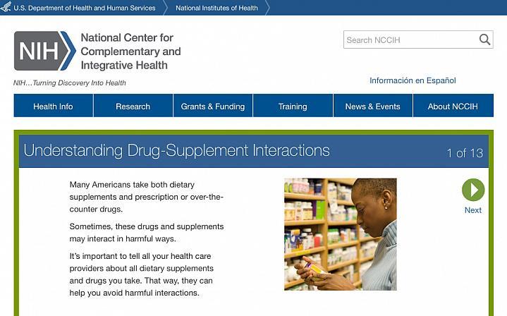 Screenshot of the Understanding Drug-Supplement Interactions website.