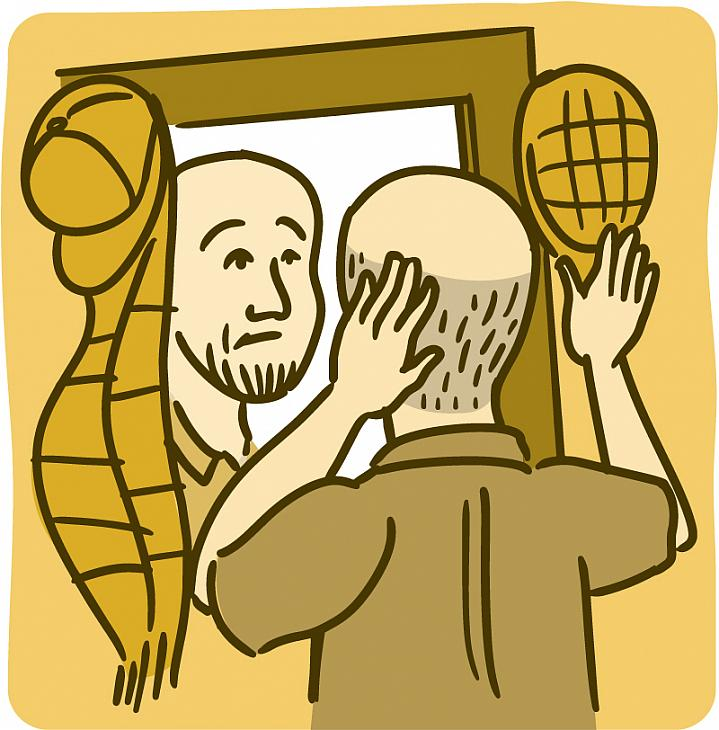 Illustration of a man looking in the mirror and touching his balding head.